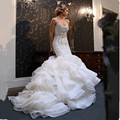 Vestido De Noiva New Vintage 2017 Mermaid Wedding Dresses Strapless Bling Crystal Ruffle Organza Ruched Luxurious Wedding Gowns