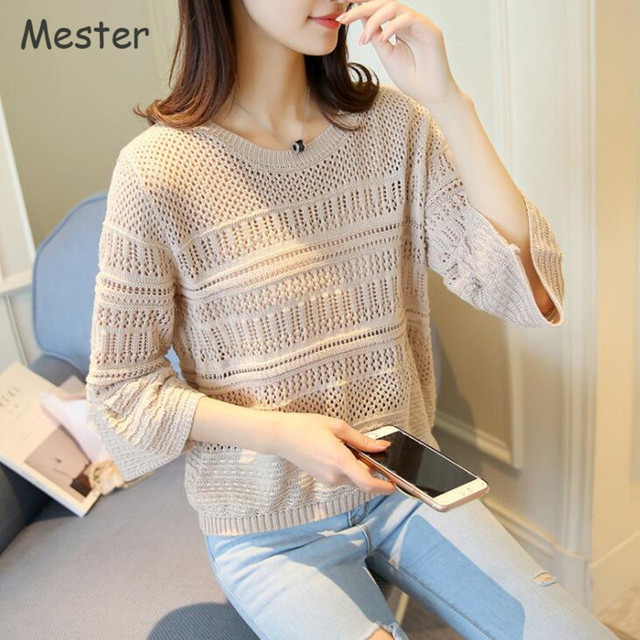 Women Sweet Cute Hollow Out Sweater Summer Crewneck Flare Sleeve Loose Thin Pullover  Korean Fashion Knitting Pattern Shirt Tops 64b7ea9a6200