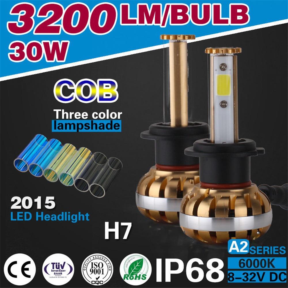 Free shipping high Power White Car <font><b>Led</b></font> 30W <font><b>H7</b></font> front Lamp Bulb <font><b>3200LM</b></font> 6000K conversion kit COB chips <font><b>LED</b></font> automobile headlight