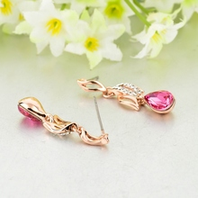 LongWay Elegant Women Gold Color Drop Earring With Pink Crystal Summer New Chandelier Earrings For Girls Boucle Ser160021