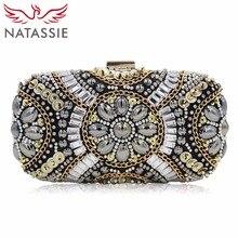 NATASSIE Fashion Women Clutches Bags Ladies Evening Beaded Bag Wedding Female Cltuch Purses