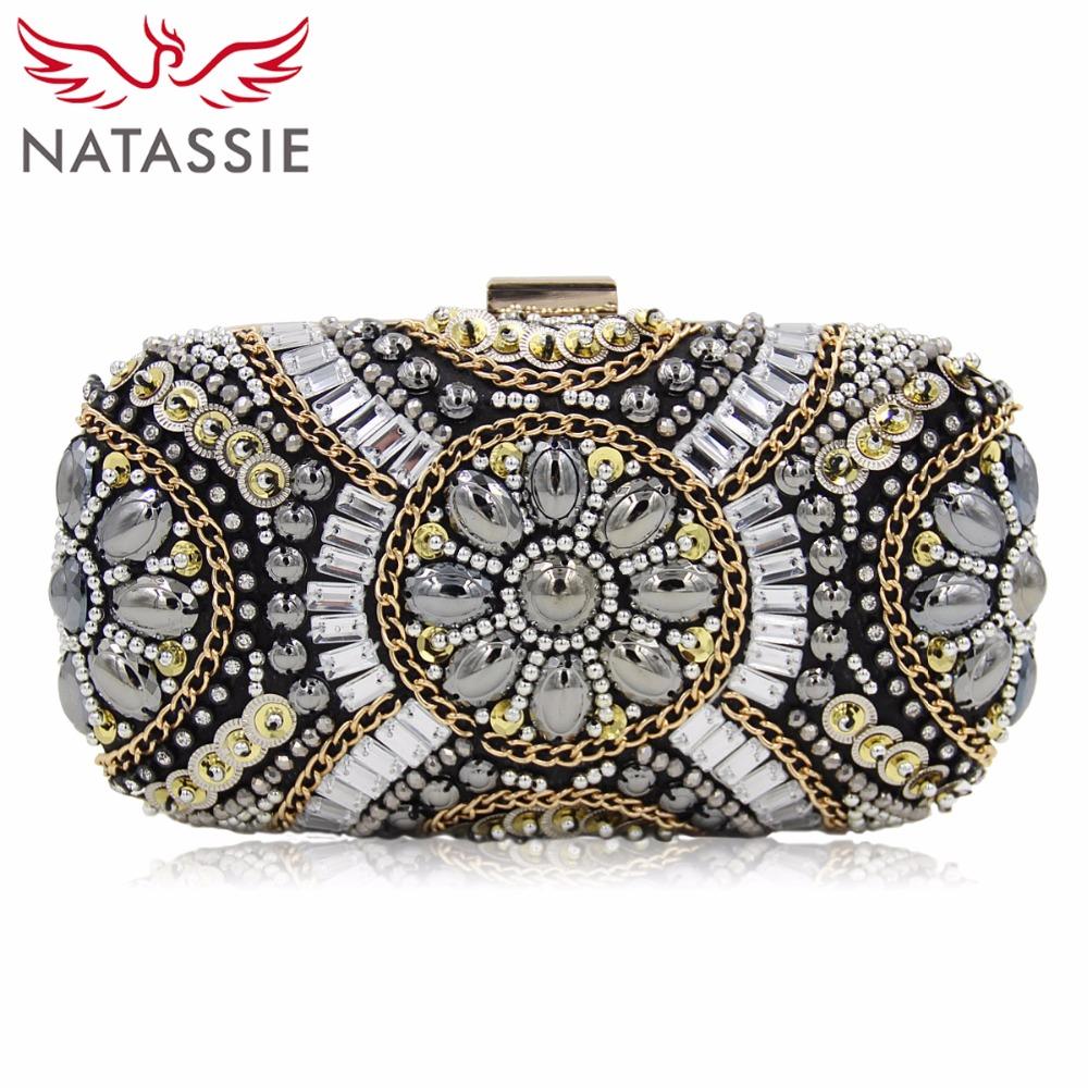 Prix pour Natassie mode femmes embrayages sacs dames de soirée perlée sac de mariage femelle cltuch sacs à main