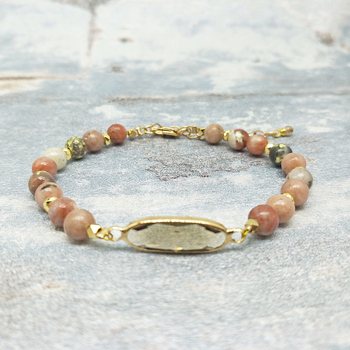 Youga New fashion bracelet 6MM natural stone beaded bracelet gray crystal accessories Bohemian unique bracelet for women 18cm