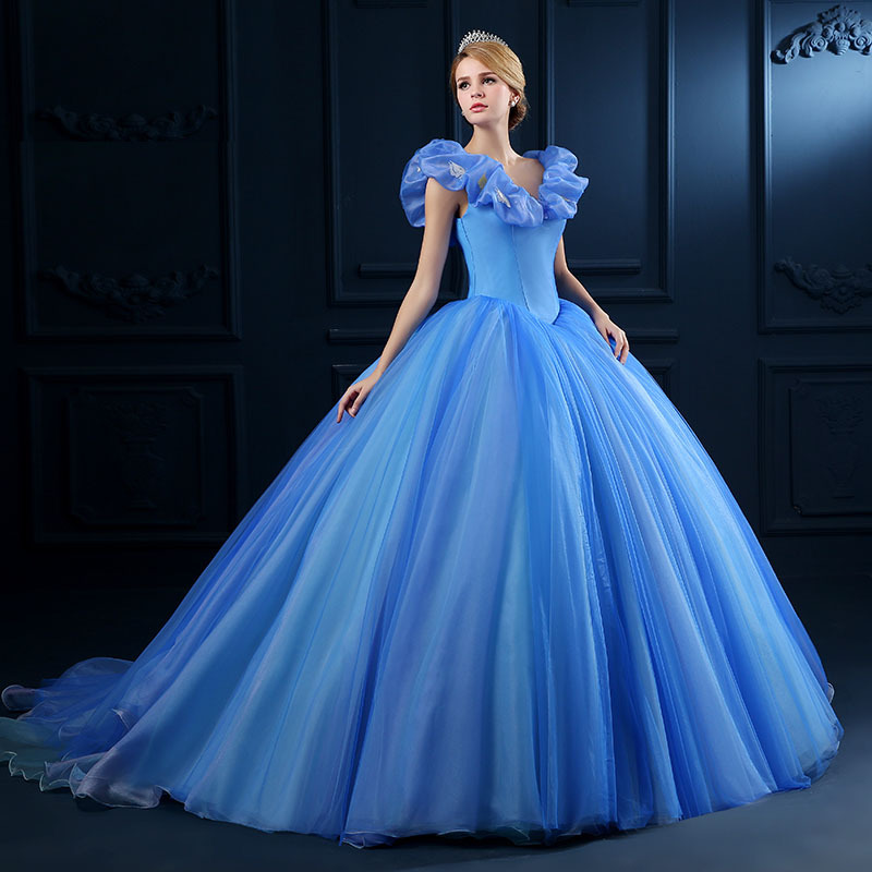 Top Sale Blue Organza Princess Dress Ball Gown Appliques Victorian