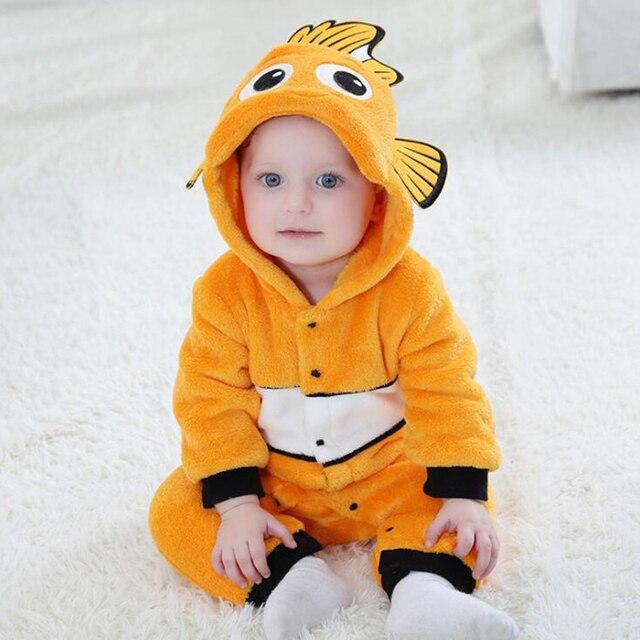 Anime Baby Nemo Clownfish Kigurumi piżama pajacyk dla noworodka Animal Onesie przebranie na karnawał Onepieces strój kombinezon zimowy