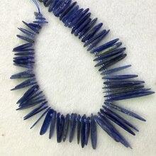 """Genuino Natural Cianita Azul Losas Rebanadas Dientes Palillo de Taladro Lado Peine Joyería Apta Collar de Las Pulseras 15 """"04314"""