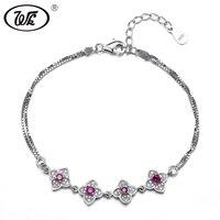 WK Luxury 925 Sterling Silver Bracelet Women Red Jade Flower Party Wedding Box Chain Link Bracelets