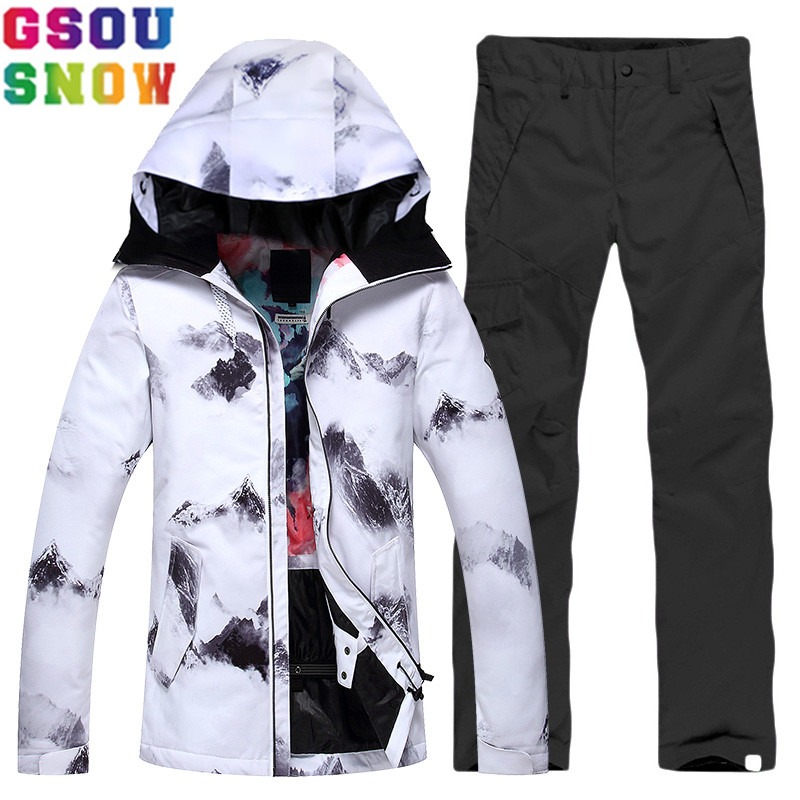 GSOU SNOW Brand Ski Suit Women Ski Jacket Pants Waterproof Cheap Skiing Suit Winter Outdoor Ladies Snowboard Sets Sport Clothing gsou snow brand ski suit women ski jacket pants winter outdoor waterproof cheap skiing suit female snowboard sets sport clothing