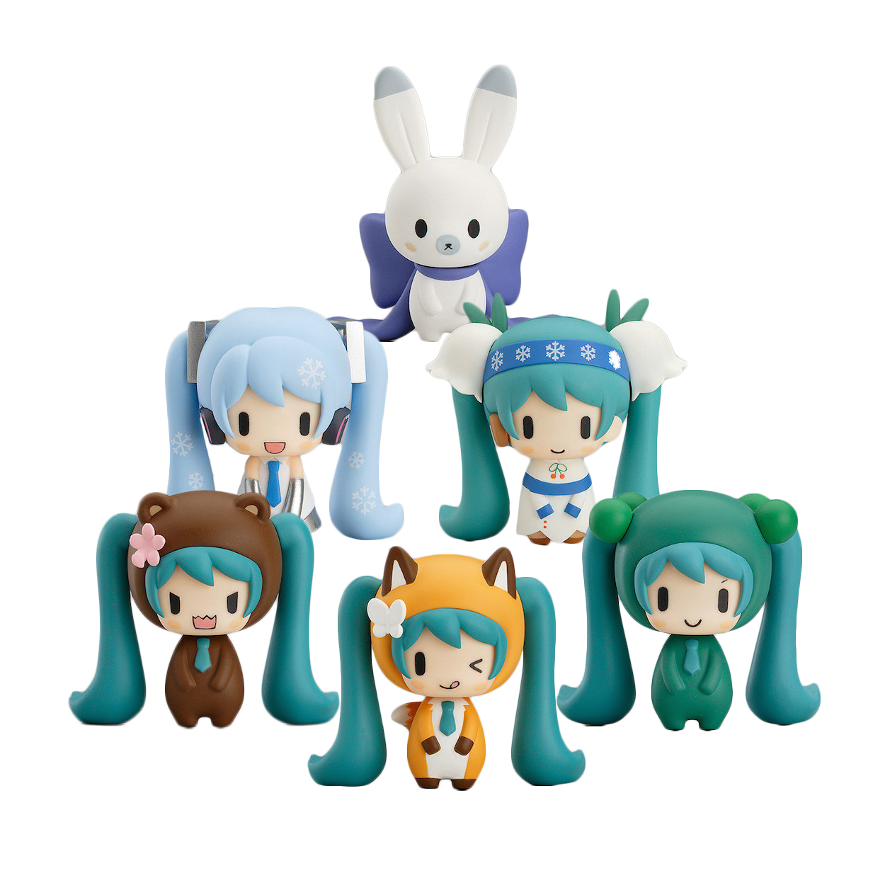 Chanycore Janpan Vocaloid Hatsune Miku Anime Figure 6pcs/set Cute Snow Miku 2015 PVC Figure Collection Model Doll Toy 5cm image