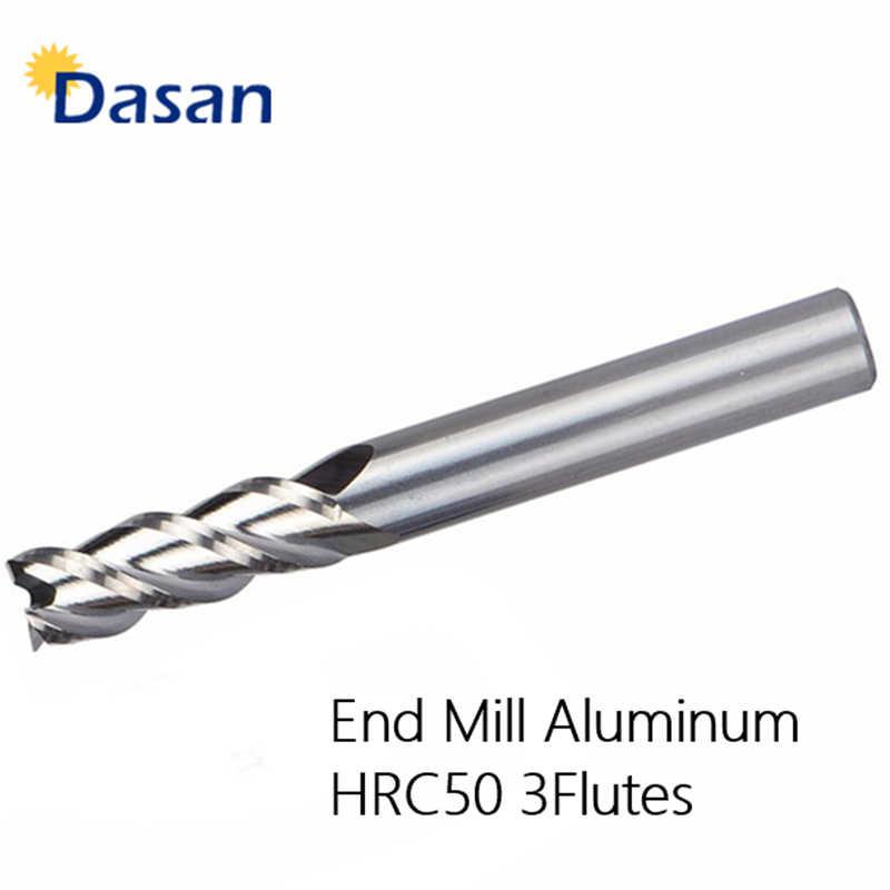 10 pcs Carbide End Moinho Alumi 6mm HRC50 3F D6 * 50L Sem Revestimento de Alumínio Haste Reta Fresas Quadrados alumínio CNC Cortador