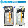 For Alcatel OT6036 6036 LCD display Touch screen digitizer Frame assembly black white