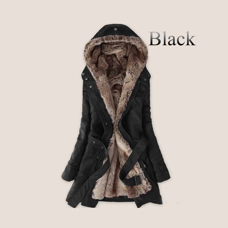 96ac3f259bd3 Thick Faux fur lining women's fur Hoodies winter warm long fur inside coat  jacket cotton clothes