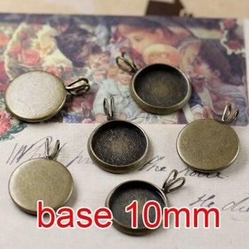 Free shipping!!! 500pcs round bronze Picture Frame charms Pendants 10mm,Cameo Cab settings,pendant base,pendant settings