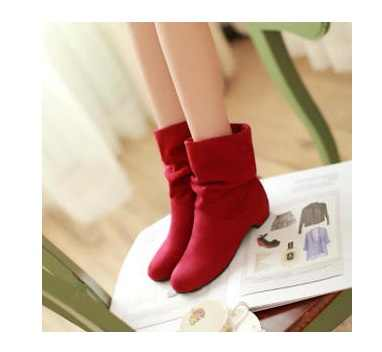 2016 Hot autumn and winter velvet boots scrub women's boots shoes spring boots female cotton boots low thick heel