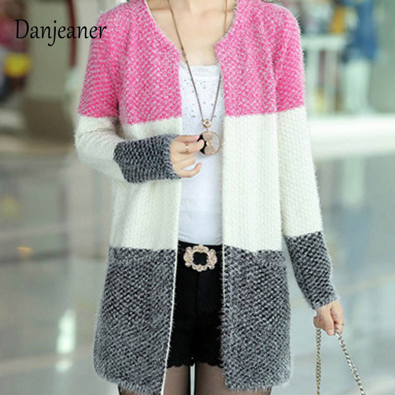 Danjeaner Autumn Winter Mohair Long Cardigans 3 Colors Patchwork Knitting Sweaters Long Sleeve Casual Thick Jumpers Pull Femme