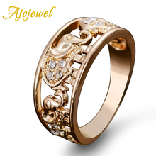 US Size 6.5-9 Ajojewel Drop Shipping Elegant Gold Elephant Ring Crystal Accessories Joias For Women