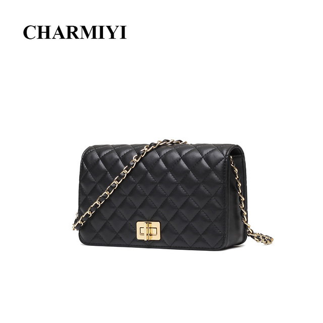 90dd12fba4b CHARMIYI Brand Design Women Genuine Leather Messenger Bags Small Chain  Cover Shoulder Crossbody Bag High Quality