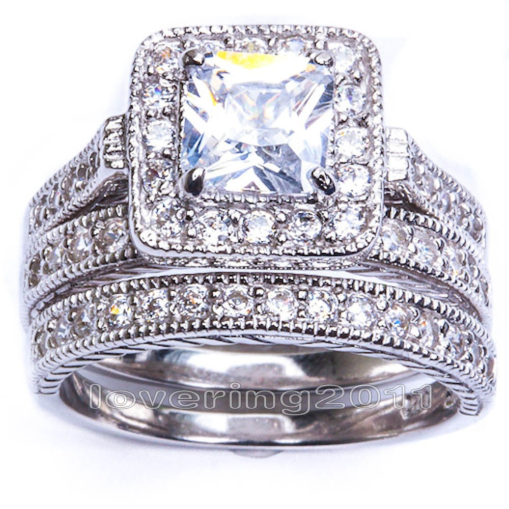 show me pics of your 3 stone e ring and wedding band set please 3 band wedding ring 3 stone engagement rings preferably square stones cushion radiant princess emerald with the wedding band you chose This would help me sooooo much