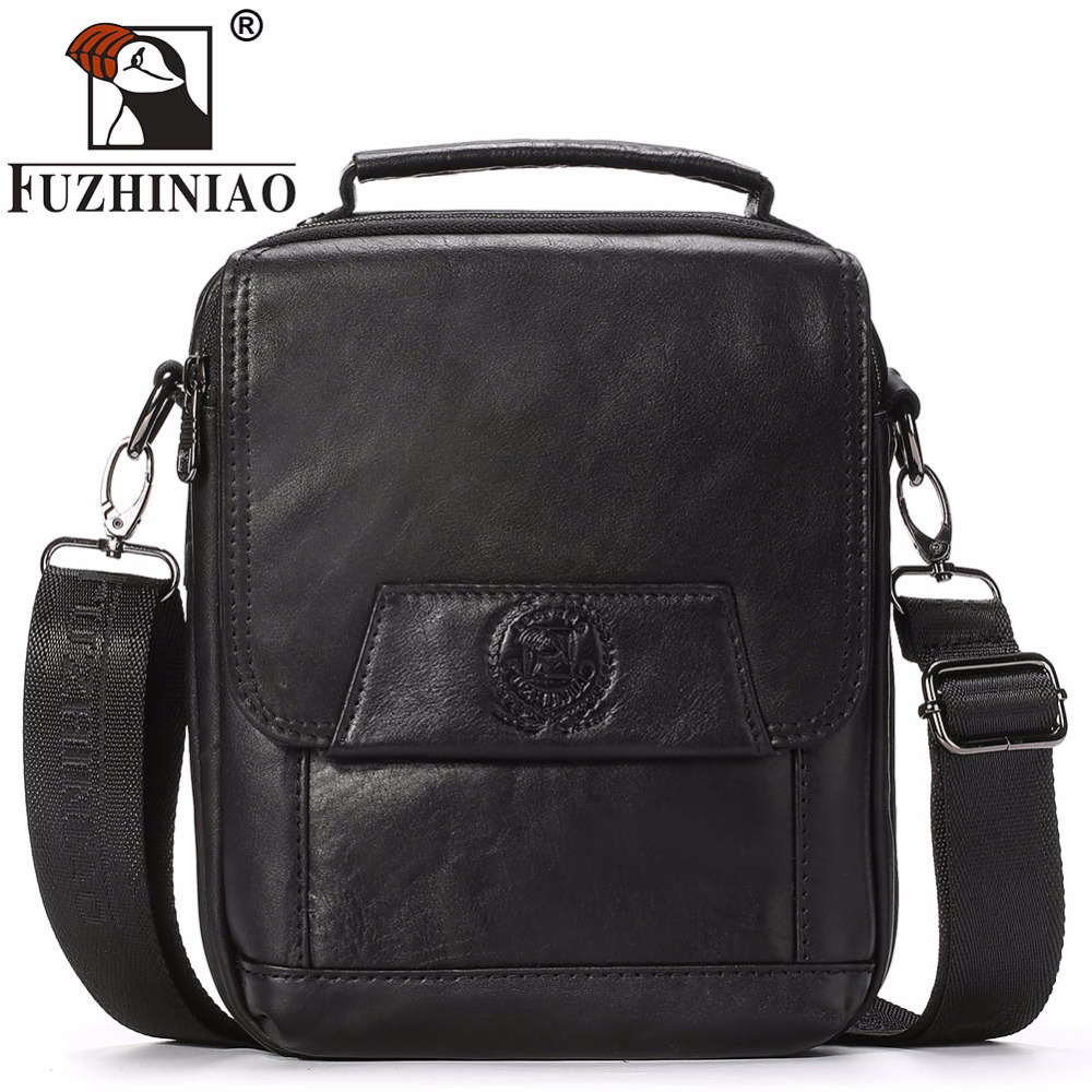 FUZHINIAO High Quality Business Men Messenger Bag 100% Genuine Leather Handbag Man Shoulder Small Satchel Crossbody Office Bags men crossbody bag messenger shoulder handbags cowhide genuine leather casual business satchel mens bags for male high quality