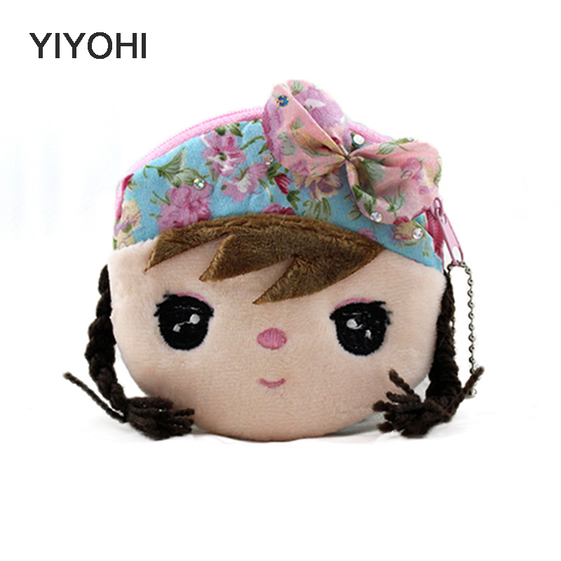 YIYOHI New Kawaii Cartoon Beautiful Gril Children Plush Coin Bag Purse Zipper Change Purse Wallet Kids Girl Women For Gift купить