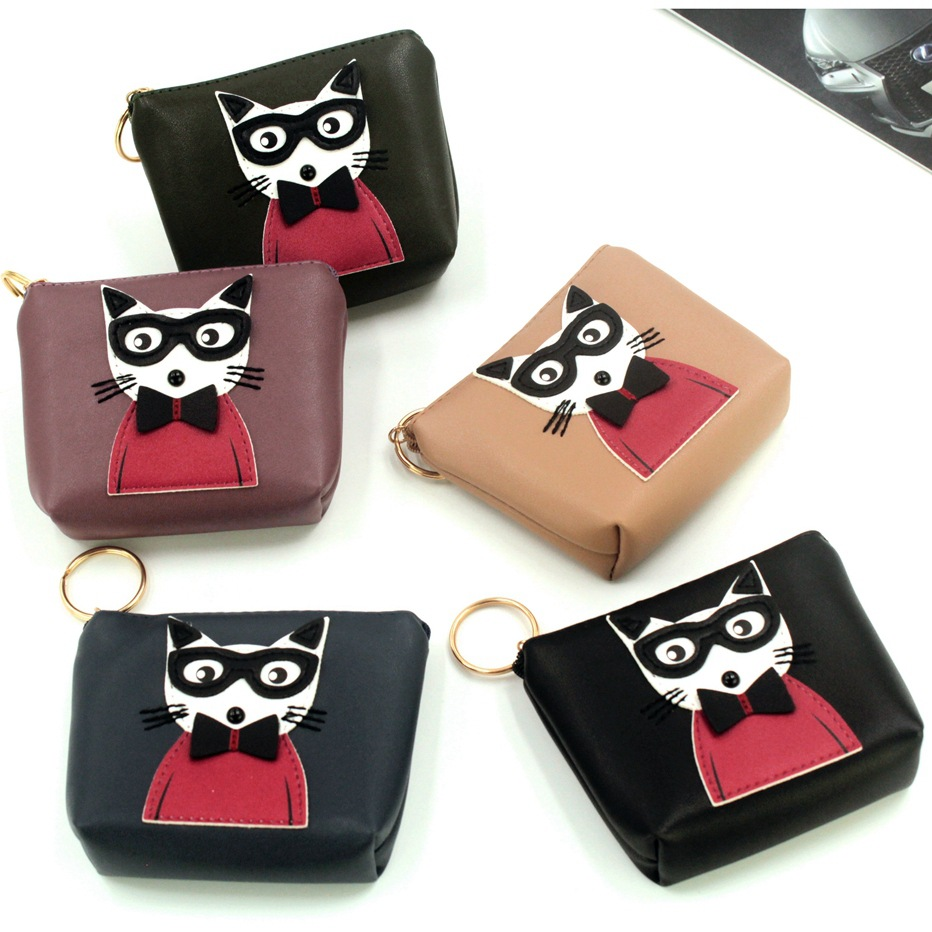 Animal Patchwork Cat Coin Purse Women High quality Brand PU Leather Lady Small Wallet Female Zipper Clutch Purse Kids Wallet #40