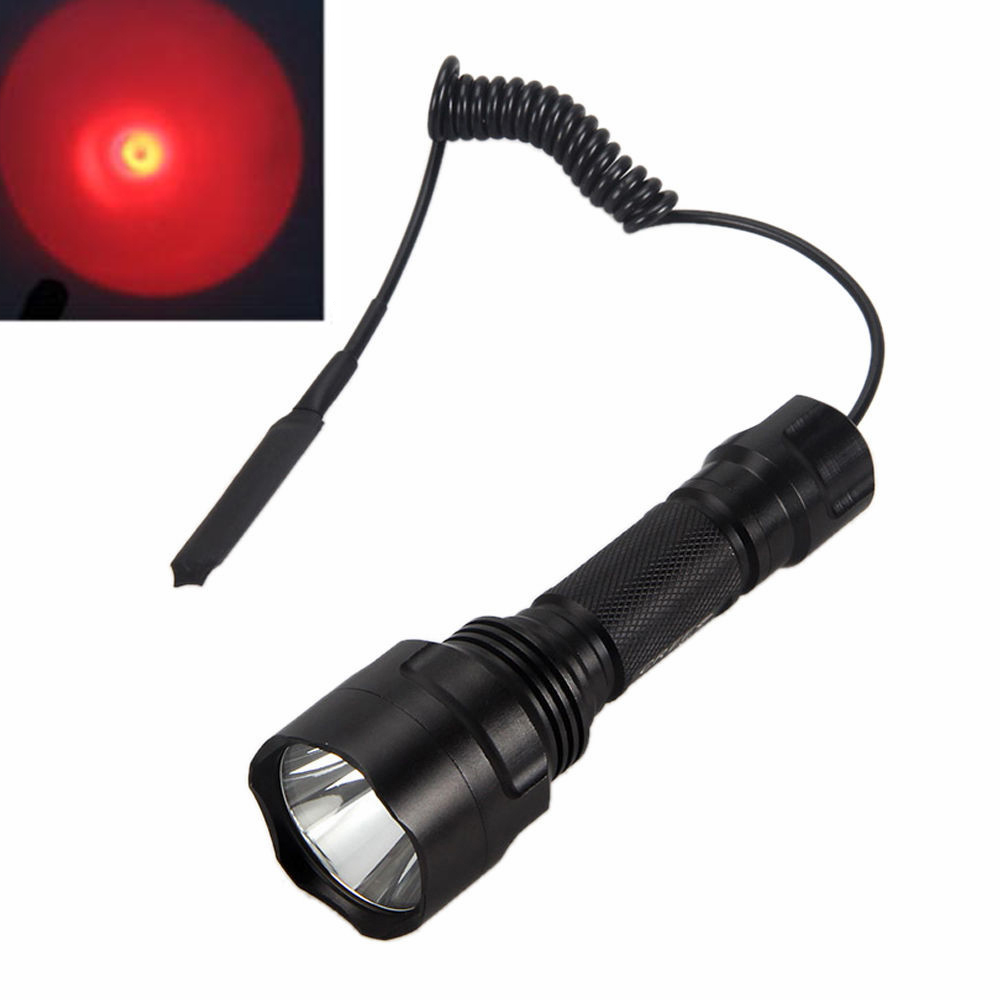 Tactical 2500LM C8 XML Q5 Red LED Flashlight Torch Hunting Lamp Led Light +Remote Pressure Switch tactical zoomable 5000lm xml t6 led flashlight torch hunting light lamp pressure switch battery