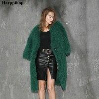 Новая мода Подлинная Монголия овец меха/флис мех трикотажные пальто с мехом зеленого цвета длинная стильная с карманами украсить