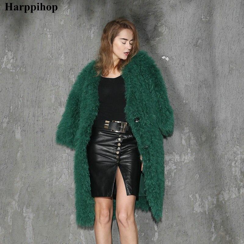 Новая мода натуральная Монголия овечий мех/флис мех вязаный мех пальто зеленый цвет длинный стиль с карманами украшения