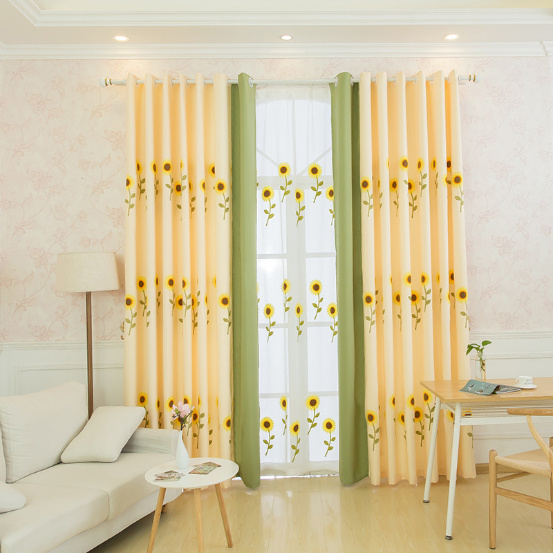 New Pattern Minimalist Silk Linen Embroidered Blackout Sunflowers Curtain for Kitchen Living Room Tulle Curtains for Bedroom