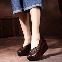 2017 Spring Womens Pumps Brown Handmade Women Shoes Retro Style Ladies 8CM High Heel Pumps Genuine