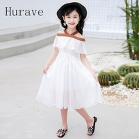 Hurave 2017 Infant Summer Ruffles Kids Dress Children Shoulderless Chiffon Princess Girl Dress Robe Fille Vestoidos