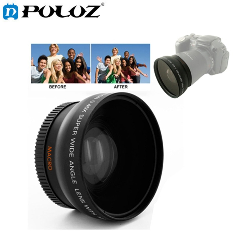 0 45X 52mm Wide Angle Lens with Macro filter for Nikon D40 D60 D70s D3000 D3100 D5000 Canon Sony 52MM DSLR Camera in Camera Lens from Consumer Electronics