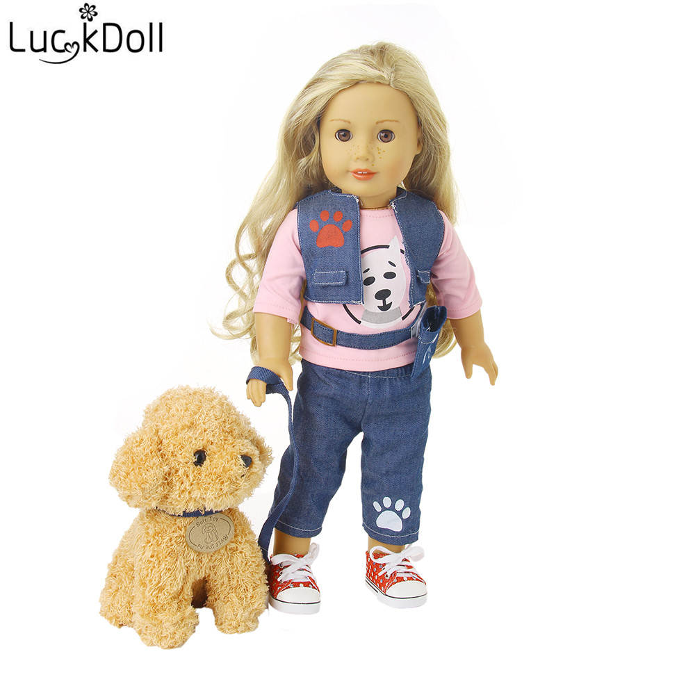 LUCKDOLL 4 Piece Fashion Vest + Bag + Long Sleeve + Jeans For 18 Inch Doll Or 43 Cm Doll Accessories