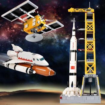 Cohete bloques de construcción estación espacial Saturn City Shuttle satélite astronauta figura hombre ladrillos conjunto niños juguetes regalo