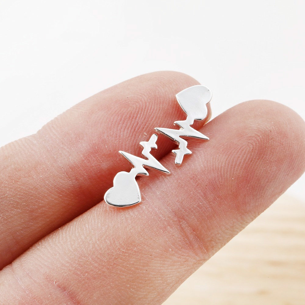 Fashion Heartbeat Stud Earrings for Women Stainless Steel ECG Induction Earrings Lovers Jewelry Minimalist Ear Studs bijoux