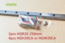 Tajwan HIWIN wykonane 2 sztuk HGR20 L 250mm 20mm liniowy szyny prowadzącej z 4 sztuk HGH20CA lub HGW20CA wąski przesuwne bloku cnc część
