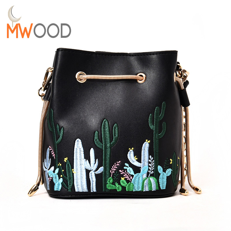 Moon Wood PU Leather Embroidery Chain Shoulder Bags Daily Casual Printing Cactus Fashion Girls Shoulder & Crossbody Handbags N52