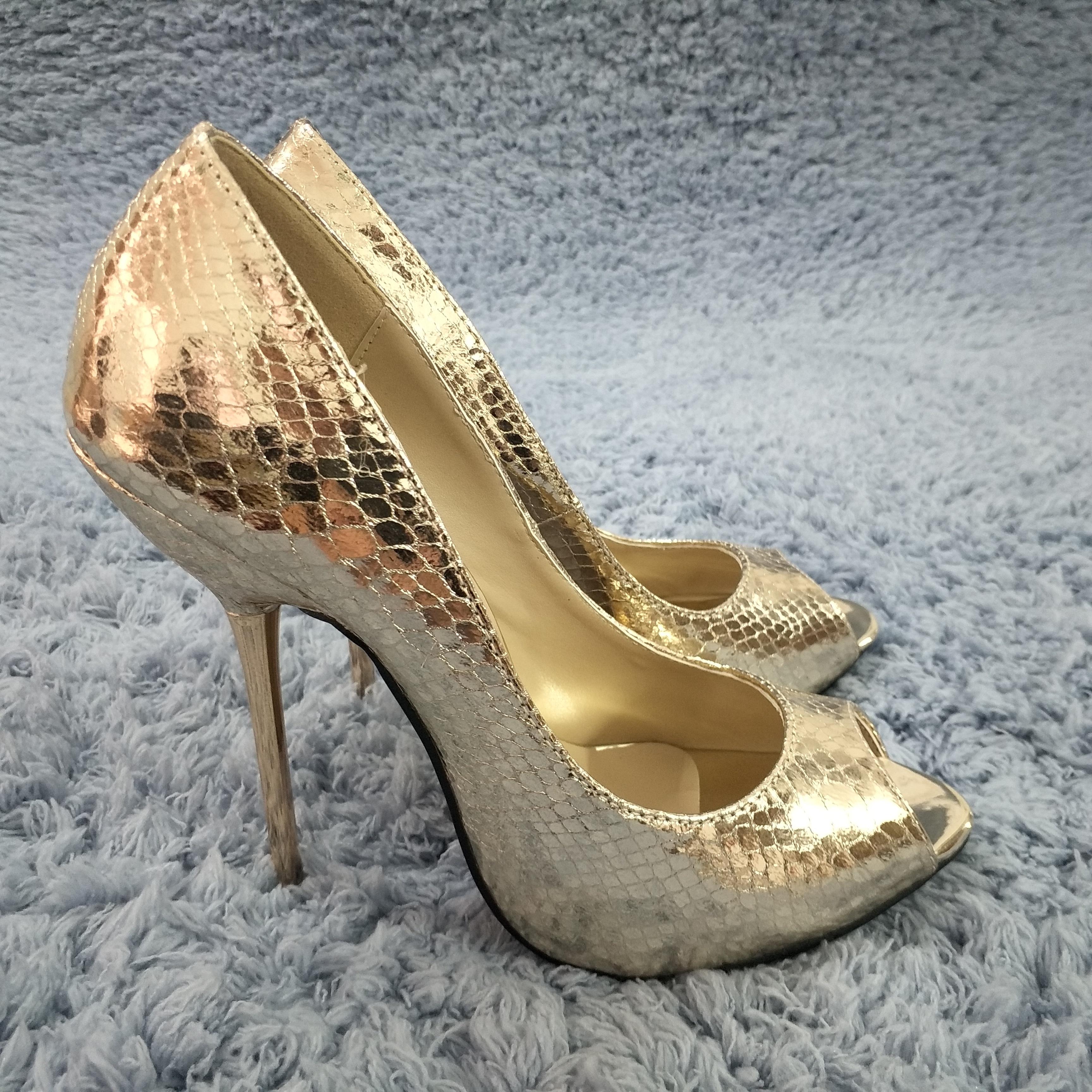Women Stiletto Thin Iron High Heel Pumps Sexy Peep Toe Light Gold Snakeskin Fashion Party Bridal Ball Lady Shoes 3845-a13