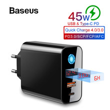 Baseus Digital Display Quick Charge 4.0 3.0 USB Charger Smart Power-Off QC 4.0 3.0 Quick Charger PD 3.0 Fast Charger for iPhone(China)