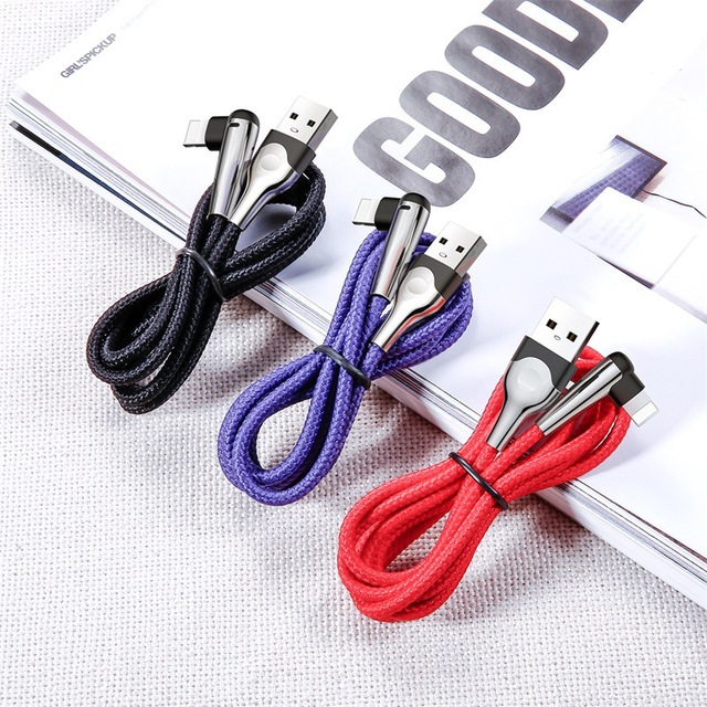 Baseus Lighting USB Cable For iPhone XS Max XR X 8 7 6 6S SE 5 Fast Charging Charger Wire Cord 90 Degree Data Mobile Phone Cable