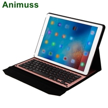 Animuss 7 Colors LED Foldable PU Leather Case Backlit Wireless Bluetooth Keyboard For iPad Pro 12.9