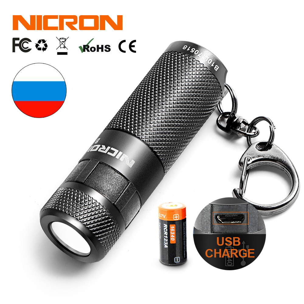 NICRON Mini linterna LED llavero 3 W USB recargable lámpara compacta antorcha luz impermeable 3 modos para el hogar al aire libre, etc.