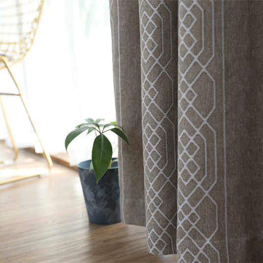 Simple Blackout Curtains New Chenille Jacquard Living Room Bedroom Study Curtain Processing