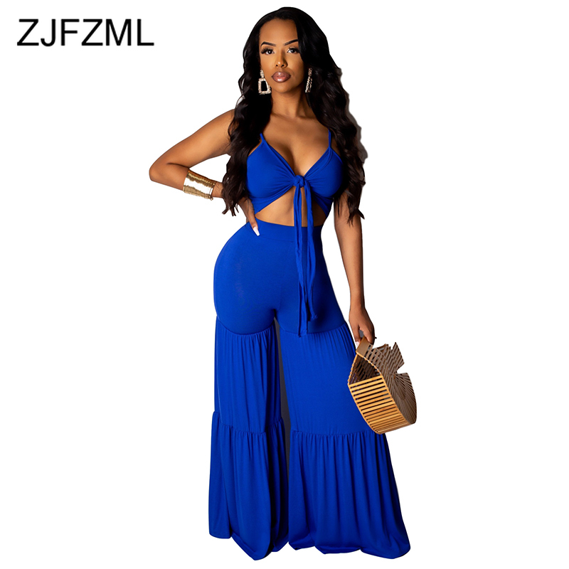 Spaghetti Strap Sexy Beach Overall Women Waist Band Cut Out Backless Wide Leg   Jumpsuit   Casual DeepV Neck Sleeveless Party Romper