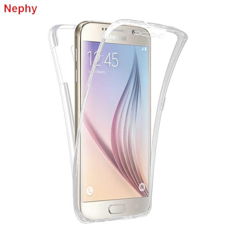 Caixa do telefone celular para samsung galaxy s6 s7 borda s8 s9 mais s3 duos s4 s5 neo nota 8 9 3 4 5 núcleo grand prime 360 completa clara capa