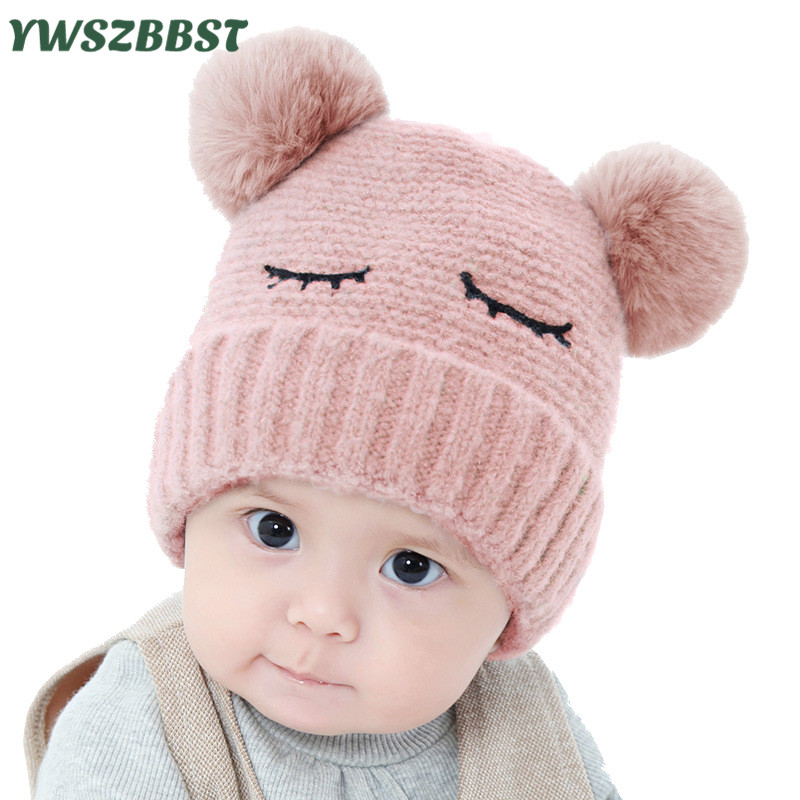 Newbron Baby Winter Hat Warm Crochet Infant Hat with Pompom Toddler Girl Cap Baby Boys Caps Knit Hats 0-12Months unisex winter plicate baggy beanie knit crochet ski hat oversized cap hat warm light gray