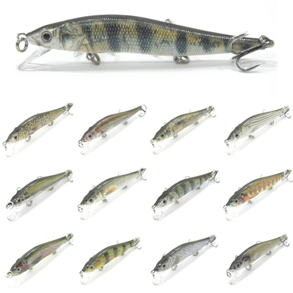 wLure Minnow Crankbait Hard Bait Tight Wobble Slow Sinking Jerkbait Lifelike RealSkin Painting Fishing Lure HM262S