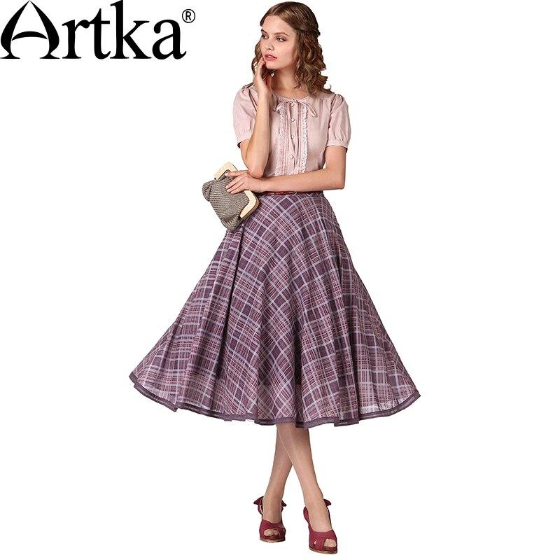 Artka Women s Summer New Plaid Printed Cotton A Line Skirt Vintage Elastic Waist Double Layer