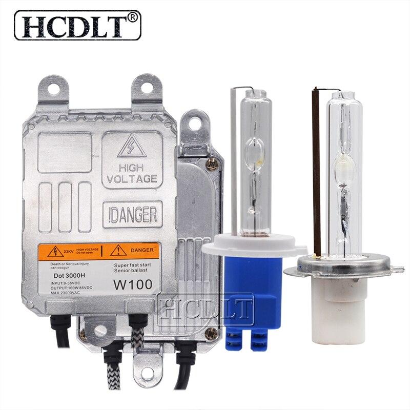 HCDLT 100W Xenon H7 HID Kit H1 H3 HB3 HB4 H11 lampe à ampoule au xénon 4300K 8000K 6000K 100W HID Ballast 12V 24V Kit de phare de voiture