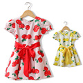 Girls Dresses Summer 2017 Apple  Print Dress Baby Kids Breif  Crew Neck Cotton Dress Cotton Knee-Length Puff Sleeve Clothing